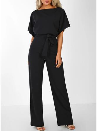 Einfarbig Rundhalsausschnitt Kurze Ärmel Lässige Kleidung Overall
