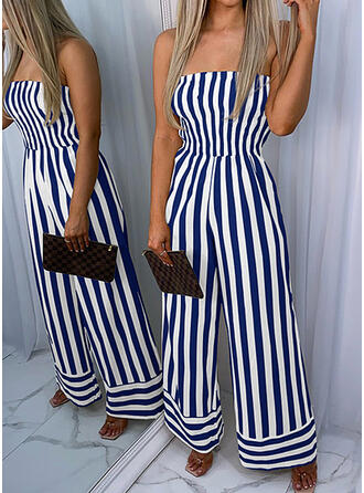 Striped Off the Shoulder Sleeveless Casual Jumpsuit