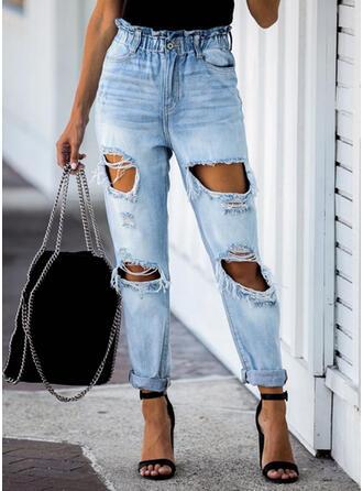 Übergröße Zerrissen Lässige Kleidung Einfach Denim Jeans
