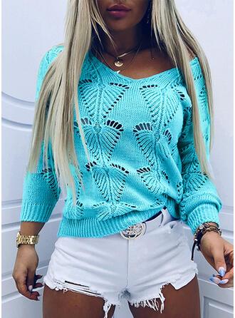 Einfarbig Hohl-out V-Ausschnitt Freizeit Pullover
