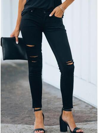 Einfarbig Übergröße Zerrissen Sexy Einfach Denim Jeans
