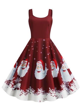Druck Ärmellos A-Linien Knielang Vintage/Weihnachten/Party/Elegant Kleider
