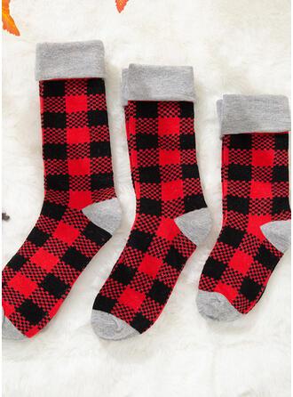 karierte Komfortabel/Weihnachten/Crew Socks/Passende Familie/Unisex Socken