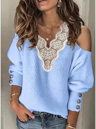Einfarbig Spitze V-Ausschnitt Kalte Schulter Freizeit Pullover