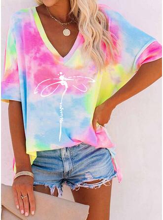 Tie Dye Letter V-Neck 1/2 Sleeves T-shirts