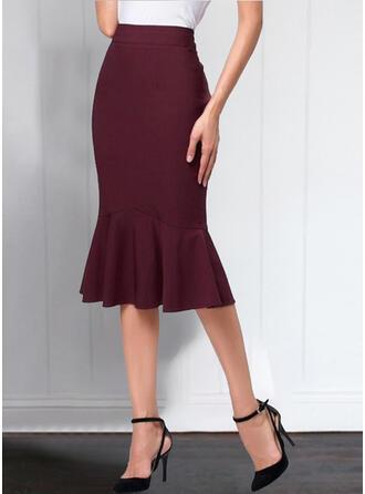 Polyester Einfarbig Maxi Ausgestellte Röcke