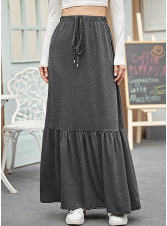 Polyester Einfarbig Maxi A-Linie Röcke
