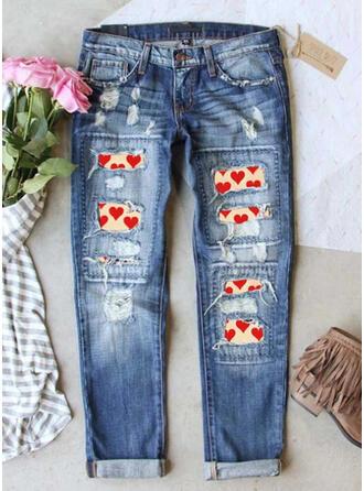 Druck Zerrissen Denim Jeans