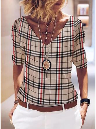 Plaid Print V-Neck Long Sleeves T-shirts