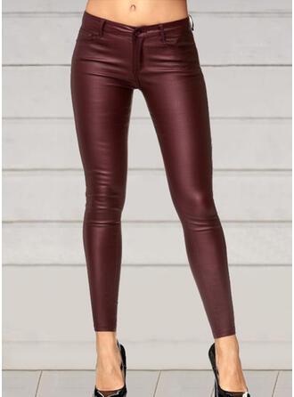 Einfarbig Shirred Übergröße Sexy Leder Jahrgang Hosen Gamaschen