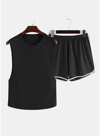 Rundhalsausschnitt Ärmellos Einfarbig Lässige Kleidung Top & Short Sets
