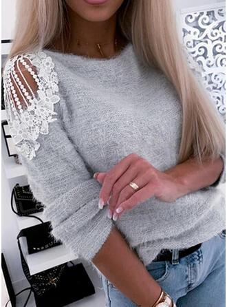 Einfarbig Spitze Kalte Schulter Freizeit Pullover