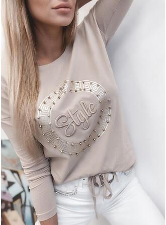 Perlen Figur Druck Einfarbig Rundhalsausschnitt Lange Ärmel T-Shirts