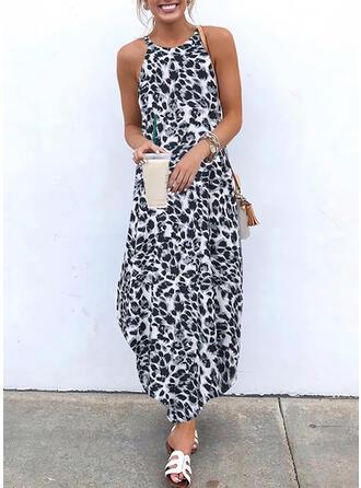 Leopard Ärmellos Shift Slips Freizeit Maxi Kleider