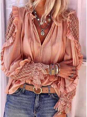 Einfarbig Spitze V-Ausschnitt Lange Ärmel Freizeit Elegant Blusen