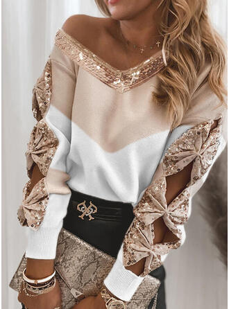 Geblockte Farben Pailletten V-Ausschnitt Freizeit Pullover