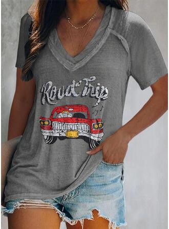 Figur Druck V-Ausschnitt Kurze Ärmel T-Shirts