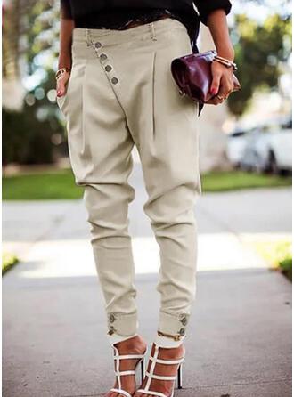 Einfarbig Shirred Übergröße Lange Elegant Sexy Hosen