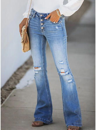 Shirred Zerrissen Elegant Sexy Denim Jeans