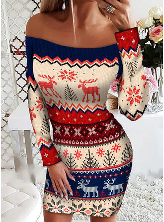 Christmas Print/Animal Long Sleeves Sheath Above Knee Casual Dresses