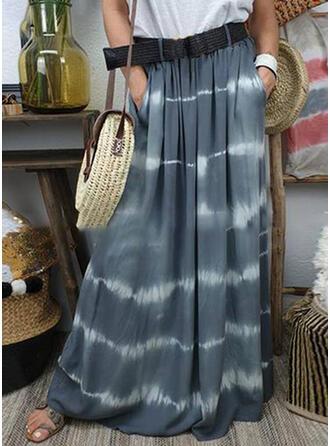 Baumwollmischungen Drucken Bodenlang A-Linie Röcke