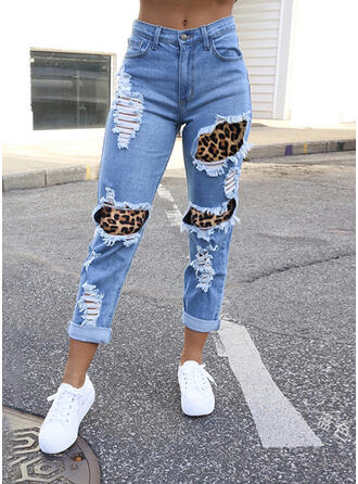 Cotton Long Casual Sexy Shirred Ripped Pants Denim & Jeans