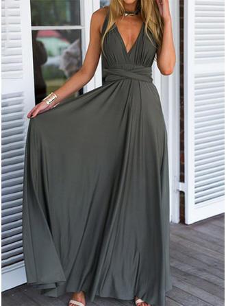 Ärmellos A-Linien Party Maxi Kleider