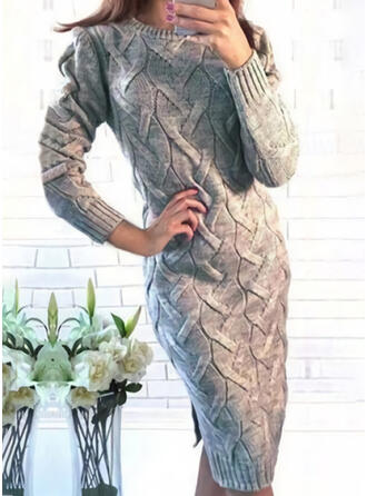 Einfarbig Zopfmuster Rundhalsausschnitt Freizeit Lang Eng Pulloverkleid