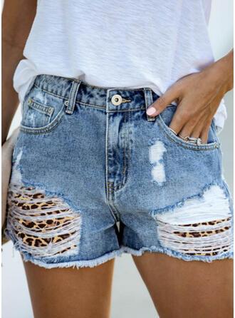 Druck Übergröße Zerrissen Sexy Jahrgang Kurze Hose Denim Jeans
