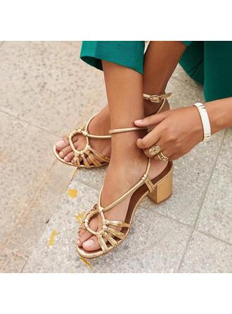 Frauen PU Stämmiger Absatz Sandalen Absatzschuhe Peep Toe Slingpumps Heels Schuhe