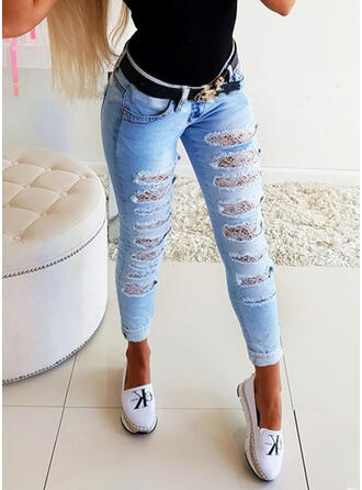 Solid Cotton Lace Long Casual Pocket Shirred Ripped Pants Denim & Jeans