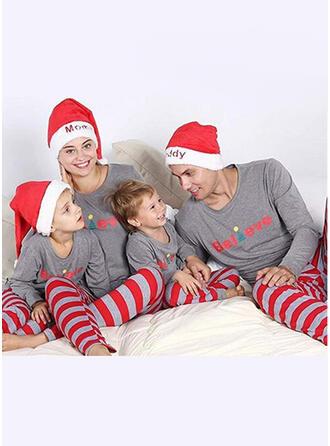 Weihnachtsmann Farbblock Schreiben Gestreift Passende Familie Christmas Pajamas