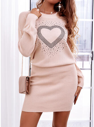 Print Heart Round Neck Casual Sweater Dress