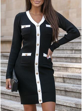 Color Block V-Neck Sweater Dress