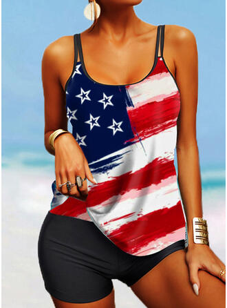 Flag Star Print Strap U-Neck Plus Size Casual Tankinis Swimsuits