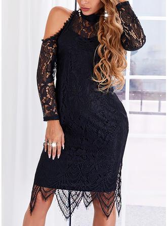 Solid Lace Long Sleeves Cold Shoulder Sleeve Sheath Knee Length Little Black/Elegant Dresses