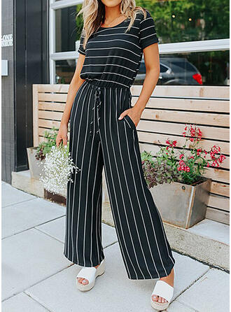 Striped Round Neck Short Sleeves Casual Jumpsuit