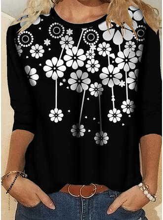 Floral Print Round Neck 3/4 Sleeves T-shirts