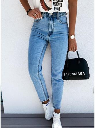 Taschen Einfarbig Baumwollstoff Denim Jeans