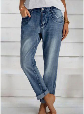 Shirred Lange Elegant Einfach Denim Jeans