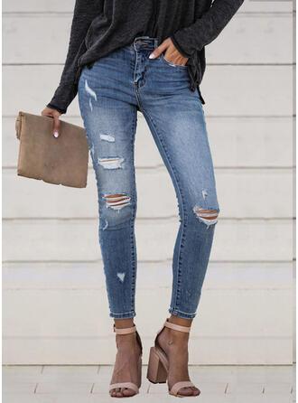 Taschen Shirred Zerrissen Lange Elegant Sexy Denim Jeans