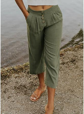 Solid Linen Cropped Casual Plus Size Pocket Shirred Button Lounge Pants