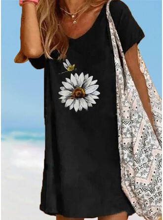 Blumen Drucken Träger V-Ausschnitt Vintage Frisch Übergröße Strandmode Bademode