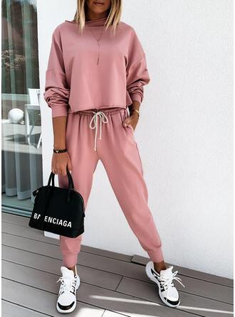 Einfarbig Kordelzug Lässige Kleidung Sportlich Anzüge