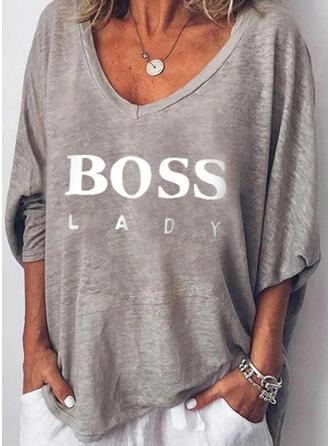 Drucken Figur V-Ausschnitt Lange Ärmel Freizeit T-shirts