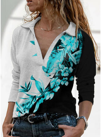 Color Block Floral Print Lapel Long Sleeves T-shirts