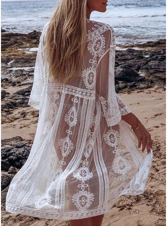 Einfarbig Lange Ärmel V-Ausschnitt Elegant Strandmode Bademode
