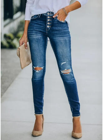 Long Casual Plus Size Pocket Shirred Ripped Pants Denim & Jeans