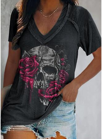 Floral Heart Print V-Neck Short Sleeves T-shirts