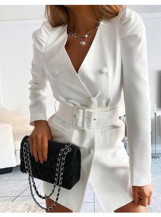 Solid Long Sleeves Hourglass Above Knee Elegant Dresses